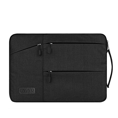 15.4 inch Laptop Sleeve,TechCode Waterproof Material Portable Case New MacBook Bag Tablet Bag,Protective Notebook Bag Carrying Case Cover for all 15 inch-15.4 inch Display(15-15.4 inch, Black)