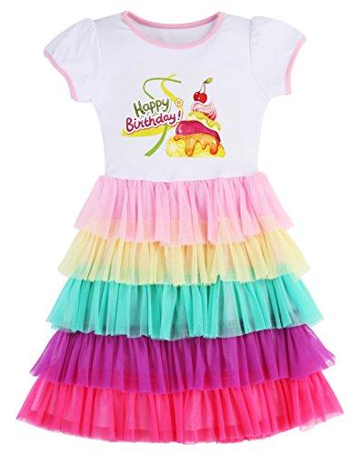 PrinceSasa Elegant Girls Clothes Unicorn Rainbow Party White