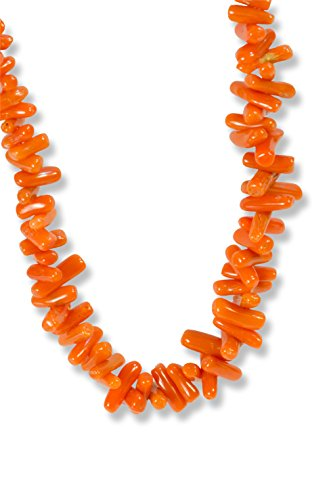 JJP Jewelry Italian Corallium Rubrum Beads Necklace 21in - Genuine Mediterranean Red Coral