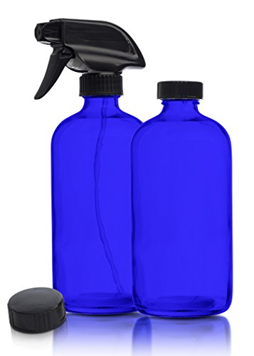 empty-blue-glass-spray-bottles-2-pack-16-oz-refillable-sprayer-for-essential-oil-water-kitchen-bath-beauty-hair-cleaning-durable-trigger-sprayer-with-mist-stream-modes-2-storage-caps