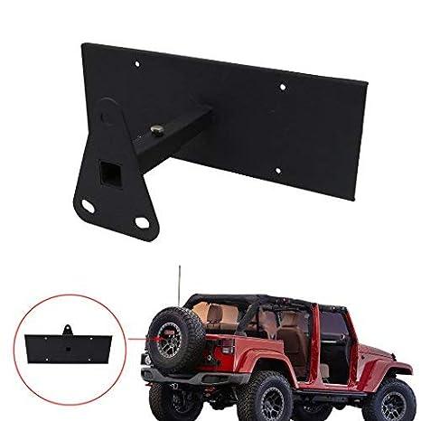 Jade trasera rueda de repuesto de acero al carbono Placa de Licencia Soporte de traslado para Jeep Wrangler JK 2007 - 2017: Amazon.es: Bricolaje y ...