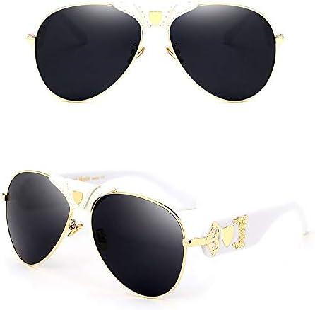 LIUYALE Frauen und Männer Art und Weise der große Rahmen-Runde Sonnenbrille, Protetion Protect Augen Leichte Anti-Ermüdung der Augen mit hohen Dichte UV Brillenfassungen (Color : White/Gold)