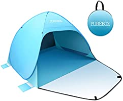 PUREBOX Automatic Pop Up Beach Tent, Extra Large Lightweight Ventilated Sun Shelter Tent with Zipper Door for 2-4 Person,...