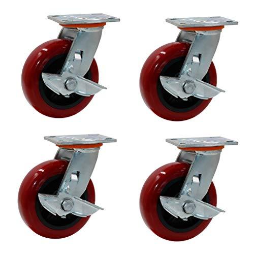 押入れ収納 ブレーキキャスターユニバーサルブレーキ付きキャスターヘビーデューティ工業用キャスターキャスター様々なサイズのキャスターブレーキを (Quantity : 4 sticks b, Size : 5in(127mm))