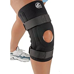 Cramer Diamond Knee Stabilizer, Knee Brace, Knee Support for Running, Sports, Arthritis, and Injury Recovery, Support for ACL and MCL Injuries, and Tendinitis, Open Patella Support, Black, X-Large