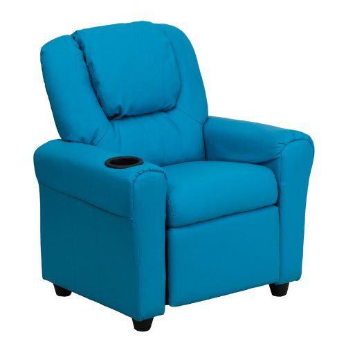 Flash Furniture Contemporary Turquoise Vinyl Kids Recliner with Cup Holder and Headrest ()