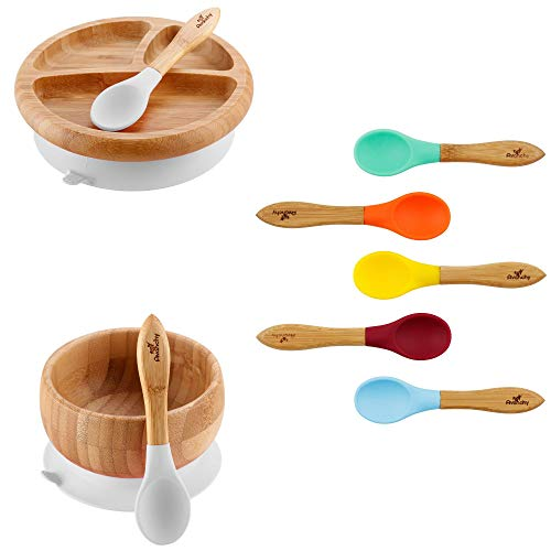 Rainbow Gift Set White - Baby Shower, Baby Registry, Home Set & More. Baby Girl, Baby Boy, Unisex. Baby Bowl Set + Baby Plate Set + Assorted Baby Spoons Set. FDA Approved BPA Free