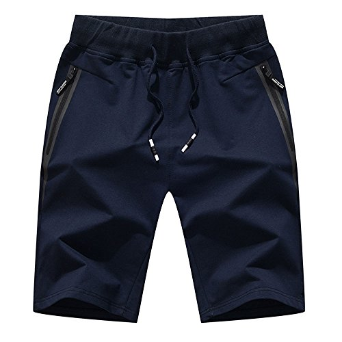 Tansozer Men's Cotton Casual Fit Shorts Fashion Classic Summer Short Pants with Zipper Pockets and Elastic Waist Solid(Large, Navy Blue) (Large Casual Shorts)