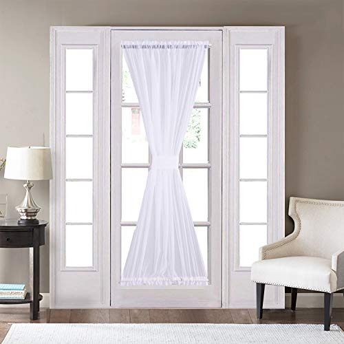 Home Brilliant Sheer Door Curtains Voile Panels for Bedroom Kitchen Closet Tier Curtains Rod Pocket