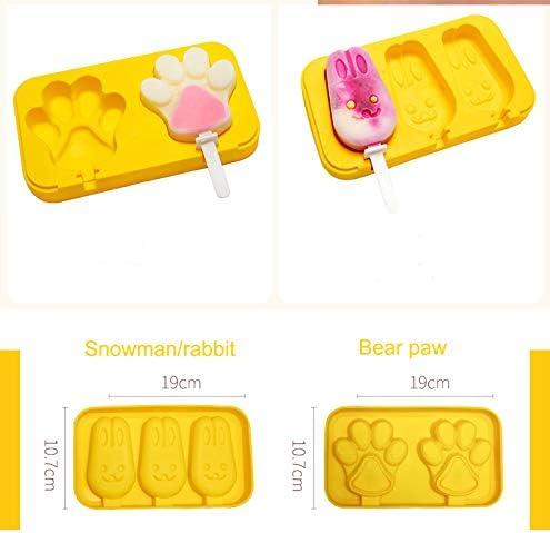 Coolfan Moldes de Silicona de Paleta casera Tapa Molde para Barra de Helado sin BPA Forma de Conejo Juego de 2 Molde para Hielo con 3 cavidades de Silicona