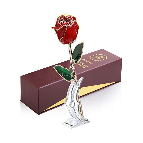 Sinvitron Gold Dipped Rose, Long Sterm Real Rose Dipped in 24K Gold with Stand & Gift Box, Ideal Gift for Valentines's Day/Wedding Anniversary/Mother's Day/Birthday/Christmas for her (Red Bud)
