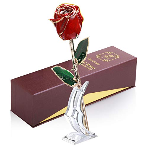 (Sinvitron Gold Dipped Rose, Long Sterm Real Rose Dipped in 24K Gold with Stand & Gift Box, Ideal Gift for Valentines's Day/Wedding Anniversary/Mother's Day/Birthday/Christmas for her (Red)