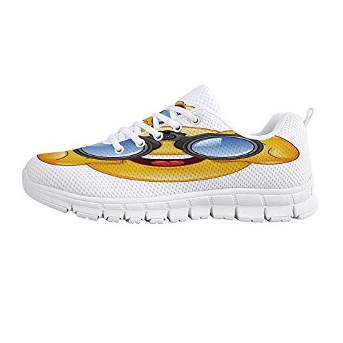 (YOLIYANA Emoji Jogging Running Shoes,Smiley Face with a Telescope Binoculars Glasses Watching Outside Cartoon Print Sneakers for Girls Womens,US Size 7)