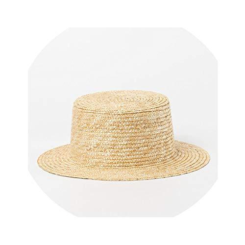 Natural Hat Kids Baby Straw Hat Boy Girl Wide Brim Sun Cap Hat,Head Size 53-55Cm]()