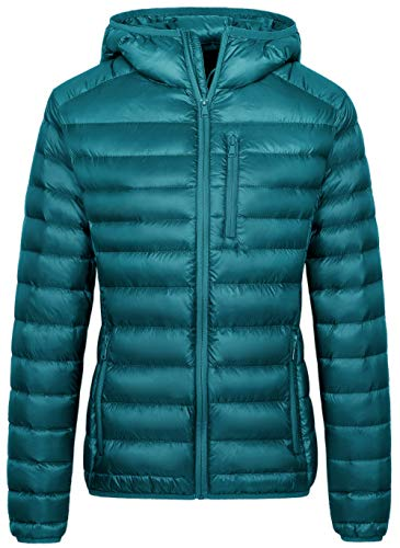 Wantdo Women's Packable Ultra Light Weight Quilted Puffer Coat Teal Blue Small