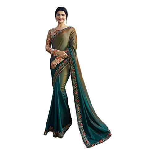 Festive Party Sari Stylish Heavy Blouse Pattern Double Shadeed Saree Silk Wedding Collection Indian Muslim Diwali 7184
