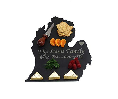 Custom Michigan Slate Cutting Board, Serving Tray, or Cheese Board- Personalized with Laser -