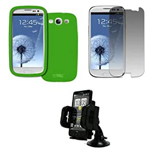 EMPIRE Samsung Galaxy S III / S3 Silicone Skin Case Cover (Neon Green) + Car Dashboard Mount + Invisible Screen Protector [EMPIRE Packaging]