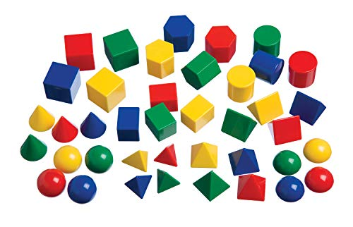 Learning Advantage Mini Geometric Solids - Set of 40 - Multicolored 3D Shapes - Early Math Manipulative and Geometry for Kids -