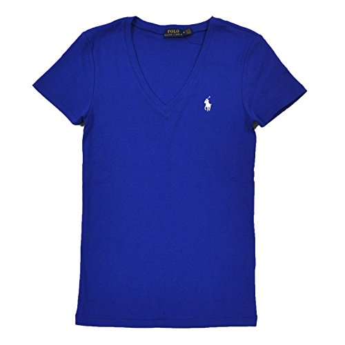 Polo Ralph Lauren Womens Short Sleeve V Neck Perfect Tee (Large, Royal - Women Polo Ralph