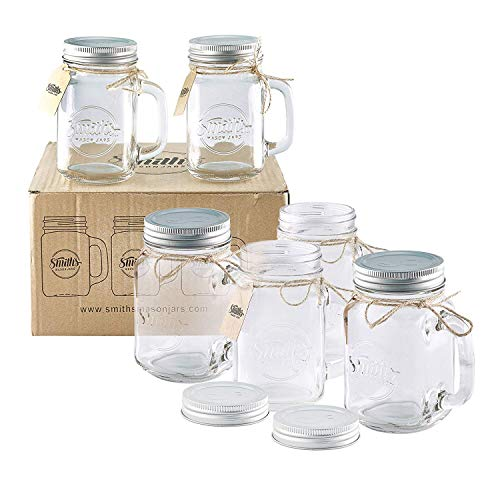 Smiths Mason Jars 6 x 16oz (pint jars) Mason Jar Mugs with screw top lids with rubber seal, making air tight drinking glasses ideal for making overnight oats. With gift and present tags