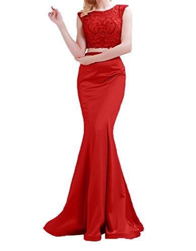 Abendkleider Charmant Abschlussballkleider Damen Zwei Rot Kleider Meerjungfrau Lang Ballkleider Jugendweihe teilig rIwgr