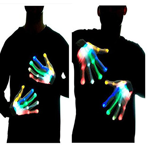 Led Skeleton Gloves, Halloween Costume Hand Flashing Dancing Light Shows (Rainbow)