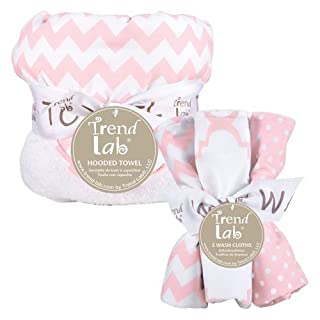 Trend Lab 6 Piece Hooded Towel and Wash Cloth Set, Pink Sky Chevron