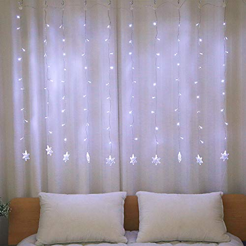 WED 100 LED Snowflake Window Curtain String Light for Wedding Party Home Bedroom Outdoor Indoor Christmas Decorations, White