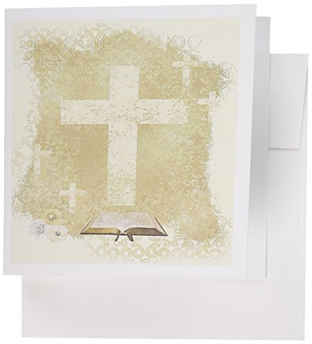 - 3dRose Crosses with Open Bible, Sepia - Greeting Cards, 6 x 6 inches, set of 6 (gc_180922_1)