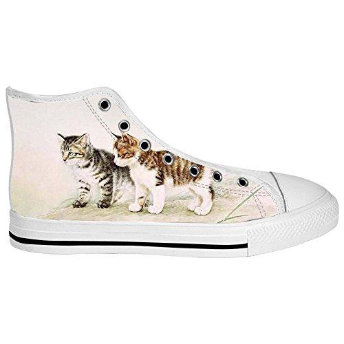 Custom Katzen malen Mens Canvas shoes Schuhe Lace-up High-top Sneakers Segeltuchschuhe Leinwand-Schuh-Turnschuhe D