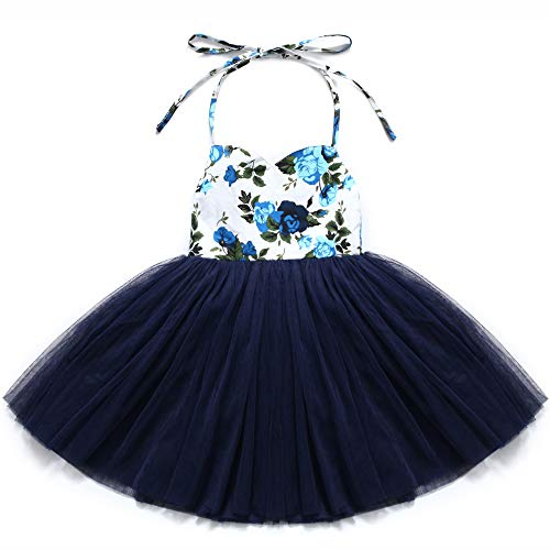 Flofallzique Christening Baby Girls Dress Easter Navy Blue Tutu Birthday Party Girls Clothes (1, Navy Blue)]()