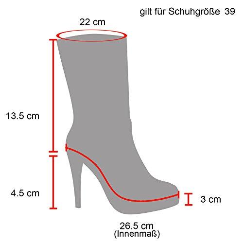 Stiefelparadies Damen Stiefeletten Chelsea Boots mit Blockabsatz Profilsohle Plateau Vorne Flandell Schwarz Velours