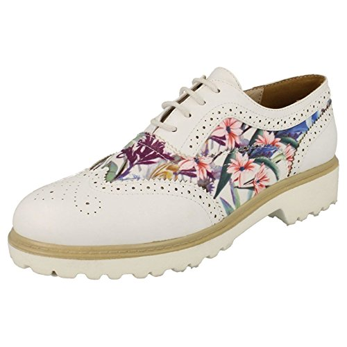 Ladies Spot On Lace Up Brogue Shoes White ZopygIKG32