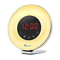 Vansky Wake Up Light, Sunrise Digital Alarm Clock for Heavy Sleepers with FM Radio, USB Charger, 7 Colors, 6 Nature Sounds, Snooze Function, Touch Control Night Light Bedside Lamp