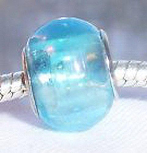 Glamorise Beads #14295 Light Blue AB Iridescent Murano Glass Bead fits Silver European Charm Bracelets -