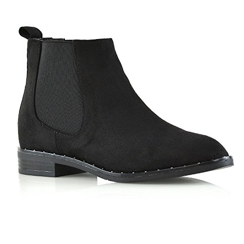 - ESSEX GLAM Womens Studden Cuban Heel Black Faux Suede Ankle Boots Ladies Biker Pull On Chelsea Shoes 9 B(M) US