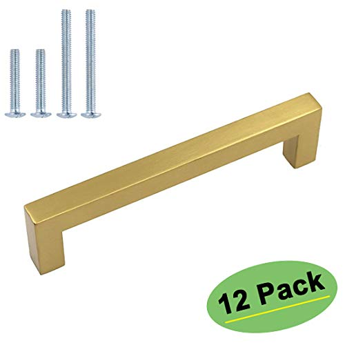 - homdiy Kitchen Cabinet Handles Gold Drawer Pulls 12 Pack 5in(128mm) Hole Centers - HDJ12GD Brushed Brass Cabinet Pulls Drawer Handles Gold Hardware for Cabinets