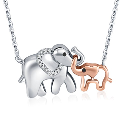 EVER2000 Elephant Pendant Necklace,Mom and baby Animal Pendant in Two-tone with CZ Jewelry Gift for - Two Elephant Tone