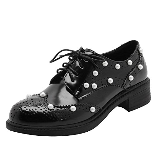 Carolbar Kvinnor Snör Åt Upp Lackläder Beaded Retro Låga Klack Oxfords Skor Svart (beaded)