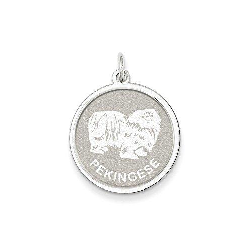 Pekingese Disc Charm (Sterling Silver Engravable Pekingese Disc Charm Pendant)