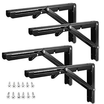 4 Pack Folding Shelf Brackets 12 inch, CBTONE Black Triangle Wall Mounted Folding Brackets Shelf Bench Table Support Bracket for Kitchen, Laundry Room, Garage, RV