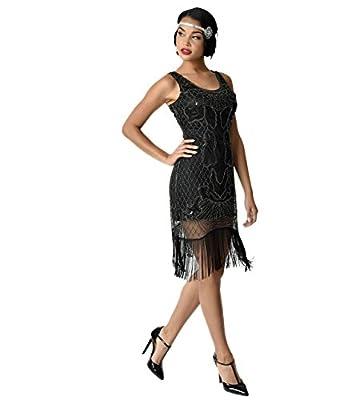 Unique Vintage 1920s Style Black & Silver Beaded Francoise Fringe Flapper Dress