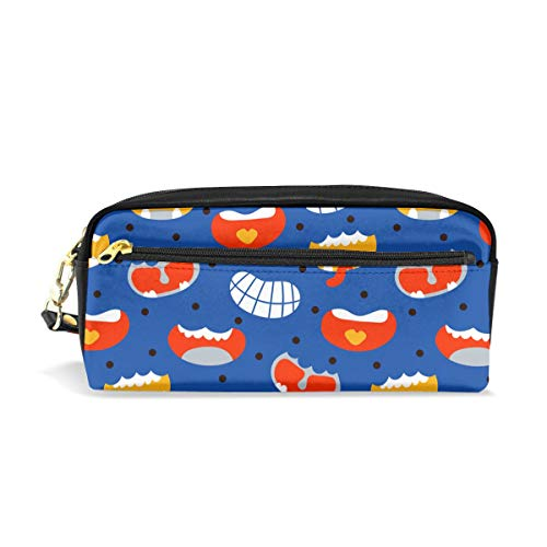Pencil Case Pouch Halloween Smiles Large Capacity Pen Bag Makeup Pouch Durable Students Stationery Two Pockets with Double Zipper -