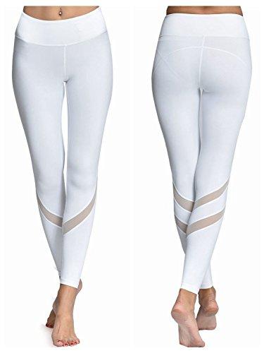 Women Yoga Pants Leggings with Mesh Workout Gym Capri Black White Yoga Pants with Hidden Pocket Ninth Pants NK9-002(White ,S )