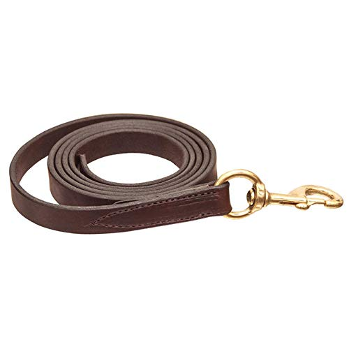 Horse Amish Western Halter Leather Lead Shank Brass Chain 975N063