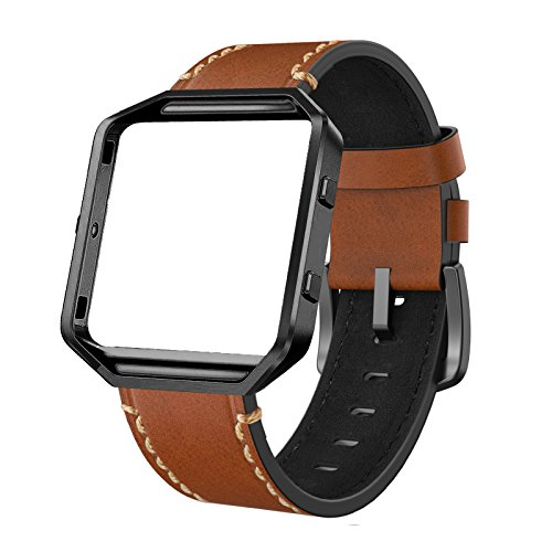 SWEES Leather Bands Compatible Fitbit Blaze Smart Watch, Genuine Leather Replacement Band with Metal Frame Small & Large for Women Men, Champagne Gold, Rose Gold, Black, Brown, White, Grey, Turquoise