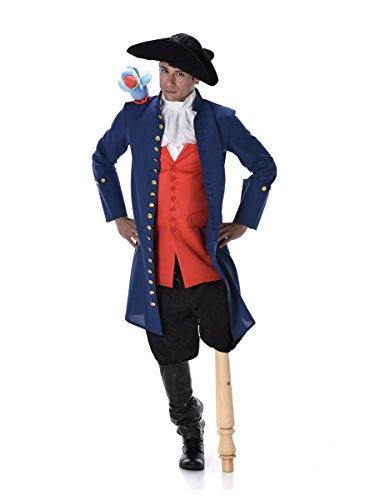 Pirate Costume Set - Halloween Medieval Navy Admiral with Toy Parrot, X-Large ()