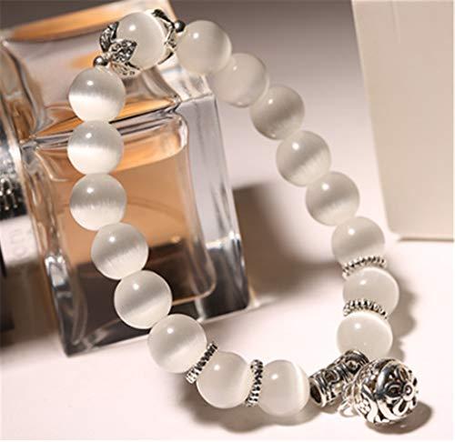 Bangles Natural (LOSOUL Natural 8mm Gemstones Healing Crystal Stretch Beads Bracelet Bangle Happiness Pendant)