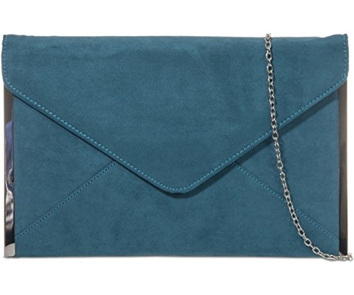 Faux With Blue Wedding Envelope Suede Handbag Prom Ladies Bag Tone ...